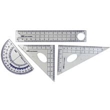 classroom-essentials-Deli 9597 4-Piece Geometry Set, Ruler + 2 Set Squares + Protractor on JD