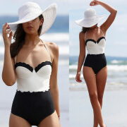 Women One Piece Swimsuit Push Up Padded Bikini Monokini Beachwear Balck White