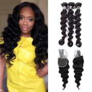 Amazing Star Peruvian Virgin Hair Loose Wave Bundles with Closure Human Hair Bundles with Closure 4x4 Inch Free Part Lace Closure