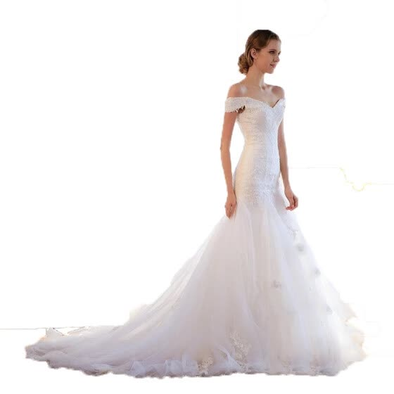 Pure White Off Shoulder Lace Up Pearls Mermaid Wedding Dress