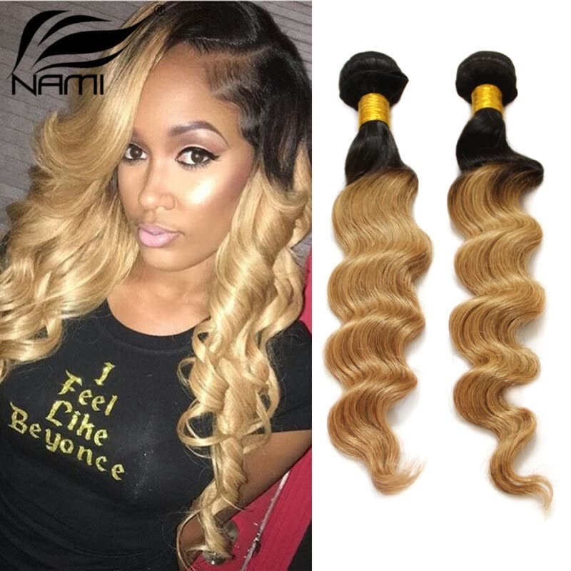 Nami Hair 3 Bundles Ombre Hair Weaves Brazilian Loose Wave Two Tone