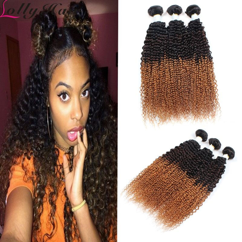 Top 8a Fashion Brazilian Ombre Three Tone Kinky Curly Hair Extension
