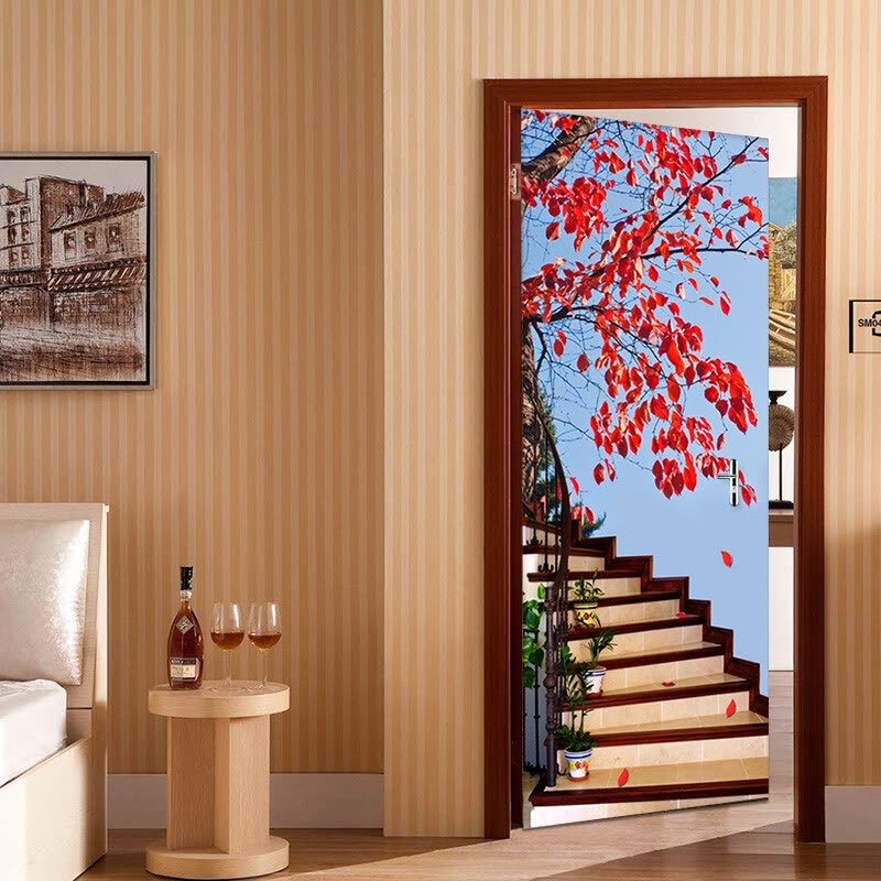 Home Decor Online Shopping Sites: Shop 3D Stereo Stairs Red Tree Photo Wallpaper Living Room