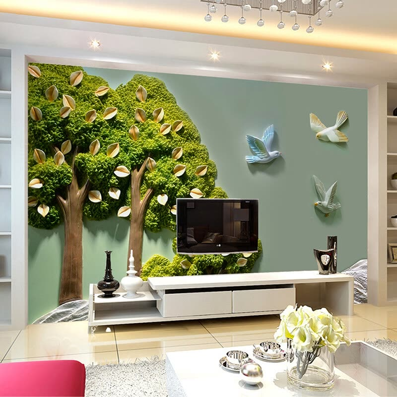 Custom Photo Wallpaper Home Decor 3D Stereoscopic Relief Trees Leaves Bird Wall Painting Living Room TV