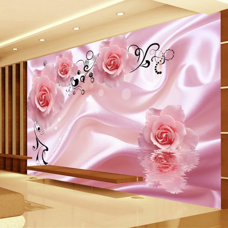 3D Romantic Rose Flower Vine Art Silk Wall Painting Wallpaper Modern ...