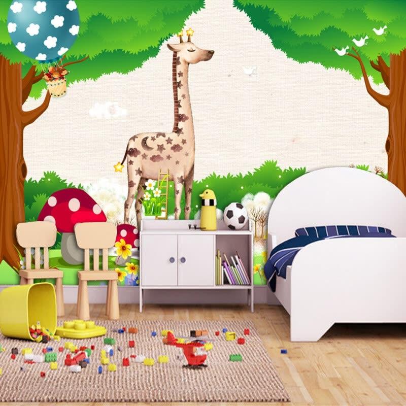 Shop Custom 3D Photo Wallpaper Green Forest Cartoon Animal Kingdom ...
