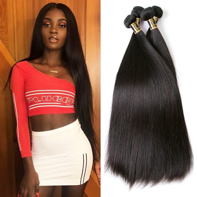 Shop Yavida Hair Indian Virgin Hair Straight 4 Bundles Indian