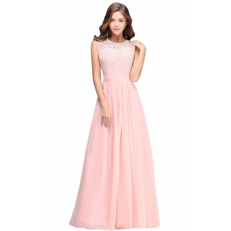 Elegant Light Pink Chiffon Long Prom Dresses 2018 Lace Ruched Floor ...
