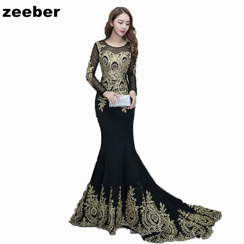 Sexy mermaid Evening Dresses Long Vintage Black Elegant long Sleeves Lace Party Gown Prom Dress Women