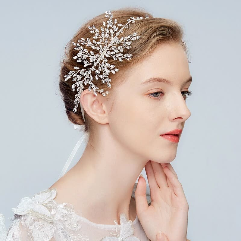 Jonnafe Stunning Silver Rhinestone Headband Tiara Pearl Wedding Hair Vine Bridal Band Women Head Pieces