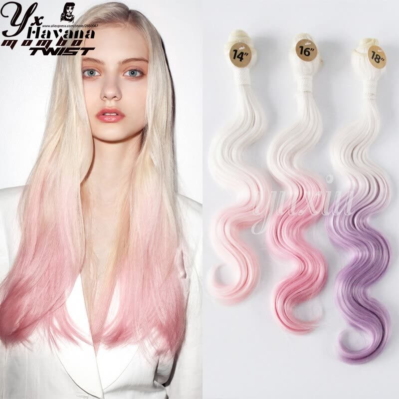 3pcs Ombre Synthetichair Weave Hair Extensions Ombre Hair Body