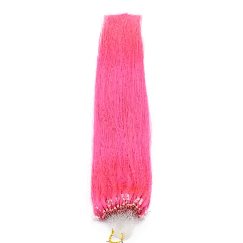 Shop 100 Brazilian Virgin Remy Hair Hot Pink Straight Micro Bead