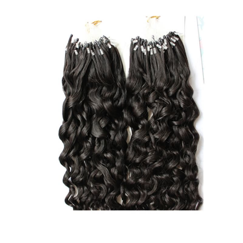 Shop Micro Ringbead Loop Hair Extensions Curly Brazilian Human
