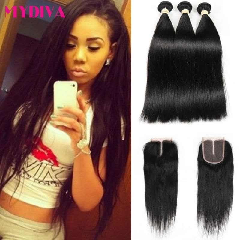 Brazilian Straight Hair 3 Bundles With Lace Closure Middle Part 4