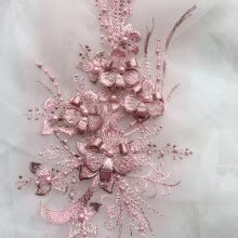 -3D Flower Embroidery Bridal Lace Application Pearl Beads Tulle DIY Wedding Dress White on JD