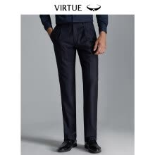 -Virtue rich loose single pleated wool anti-wrinkle men 2019 spring new trousers business casual dark vertical stripes dress straight trousers YKM60243103 navy blue 82 on JD