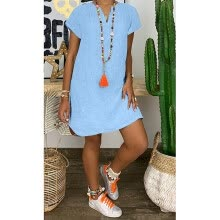 -〖Follure〗Plus Size Women's Fashion Loose Leisure V-collar Short Sleeve Summer Dresses on JD