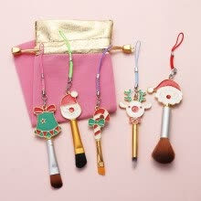 -5 Pcs Santa Claus Elk Makeup Brushes Crystal Powder Eye Shadow Metal Brush Set on JD