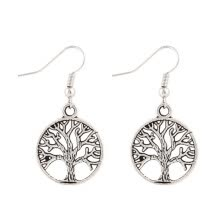 -Fashion Retro Punk Style Pierced Peace Tree Round Pendant Earrings Women Personality Jewelry on JD