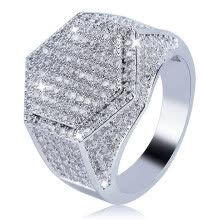 -Men S Ring Hip Hop Micro Pave Cz Finger Ring Silver Gold Diamond Square Rings For Men Jewelry Size 7-12 on JD