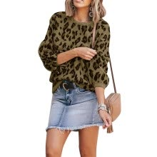 knitwear-Women's Lantern Sleeve Camouflage Leopard Sweater 2019 New Jacquard Fashion Round Neck Solid Color Sweater on JD