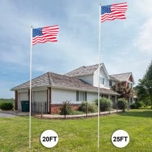 -20ft Solemn Outdoor Decoration Sectional Halyard Pole US America Flag Flagpole Kit on JD