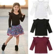 -Baby Girl Toddler Kids Long Sleeve Tops Tee Clothes Solid Color Blouse T-shirt on JD