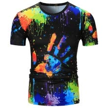 -Mens Print Slim Fit Casual Short Sleeves T-Shirts Tops Blouse on JD