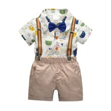 -Gentleman Kids Boys Clothes Children Clothing Sets Summer Baby Boy Cartoon Print T-Shirt Suspender Short Pants Outfits on JD