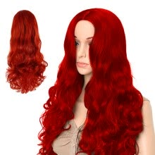 wig-caps-Wine Red Long Wavy Curly Hair Synthetic Wig Hair Style for Women on JD