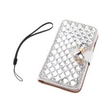 -Fashion Flip PU Leather Bling Wallet Bowknot Rhinestone Diamond Protective Case Cover with Card Holder String for iPhone 6 6S 4.7' on JD