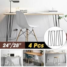 -28'' 4X Metal Hairpin Rod Table Desk Iron Legs Heavy Duty Furniture Industrial on JD