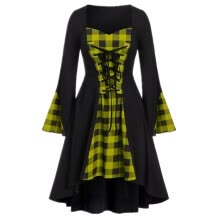 -Women's Stitching Halloween Long Sleeve Dress, Plaid Mid-length Skirt for Autumn Winter Festive Dresses on JD