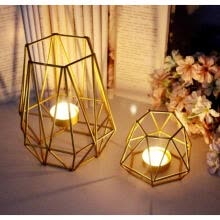 -Golden Iron Candlestick Nordic Style Geometric Candle Holders Home Bedroom Decoration Wedding Props on JD
