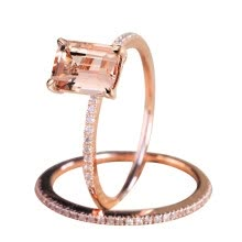 -Rose Gold Engagement Ring With A Fine Small Square Zircon Ring on JD