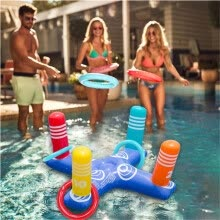 other-water-sports-Inflatable Ring Toss Pool Game Toys Floating Swimming Pool Ring with 4 Pcs Rings on JD