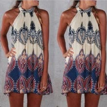 -Sexy Women Summer Holiday Boho Halterneck Chiffon Evening Party Short Beach Dress on JD