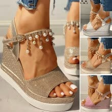 -Women Ladies Fashion Wedges Platforms Crystal Pearl High Heels Shoes Sandals on JD