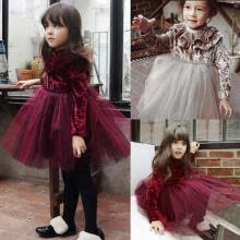 -Princess Cute Warm Infant Baby Girl Velvet Dress Turtleneck Ruffle Solid Lace Tutu Dress Spring on JD