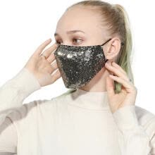 party-tableware-Women Fashion Party Mouth Mask Cotton Anti Dust Anti Haze Washable Reusable Glittering Sequins Face Masks on JD