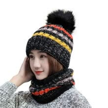 -Winter Thermal Female Warm Earmuffs Hat Fashion Striped Ski Face Mask Knit Cap and Ring Scarf Set on JD