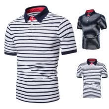-Men Summer Autumn Fashionable Striped Short Sleeve T-shirt Male Adults Casual Lapel T-shirt Top Breathable Polo Shirt Clothes on JD