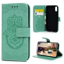 -For IPhone X embossed palm flower front buckle leather case, TPU inner case, mint green on JD