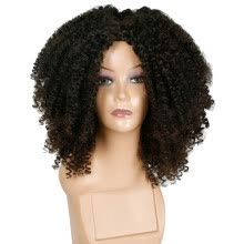 -Mnycxen Brown Synthetic Curly Wigs Short Afro Wig African American Natural on JD