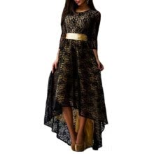 -Women Long Sleeve Maxi Party Dress Formal Sexy Club Irregular Dresses with Belt L-XXXL 4 Colors on JD