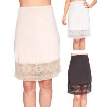 -Women High Waist Lace Underskirt Petticoat Pencil Skirt Knee Length Dress Black/White/Beige on JD