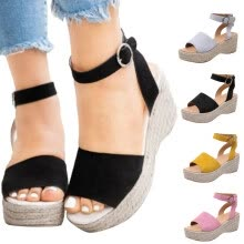 -Women's Fashion Sandals Wedge Sandals Large Size Sandals Solid Color Sandals on JD