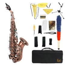 -Red Antique Soprano Saxophone Bb Key Woodwind Instrument Brass Material with Carrying Case Sax Stand Reed Gloves Cleaning Cloth Br on JD