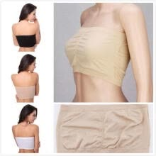 -Fashion Womens Strapless Bra Bandeau Tube Top Removable Pads Seamless Crop Colors New on JD
