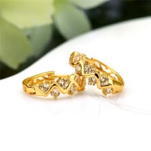 -1Pair Clear Crystal Zircon 18K Gold Plated Wave Hollow Hoop Earrings Jewelry Gift for Women Lady on JD